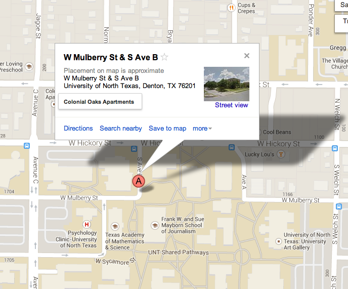 Overhead map showing where the General Academic Building is located.